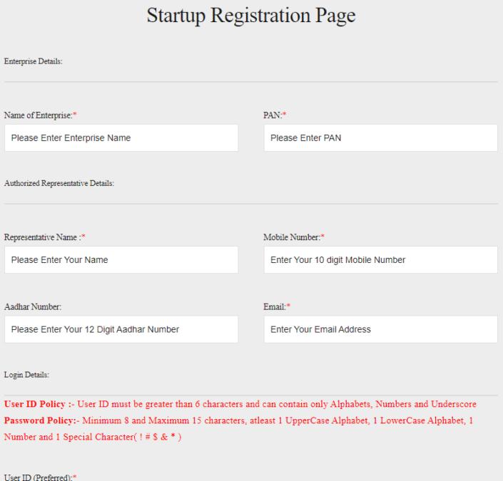 CG Startup Online Registration Form