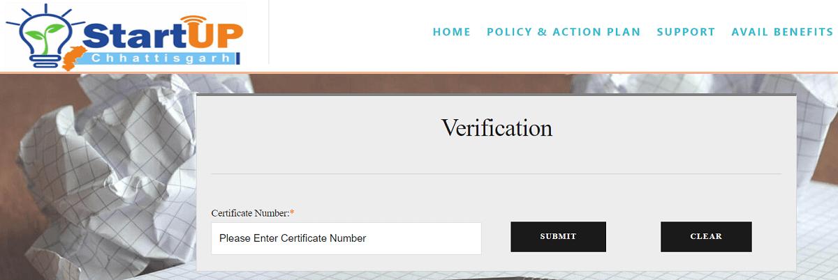 Startup Chhattisgarh Verification Page