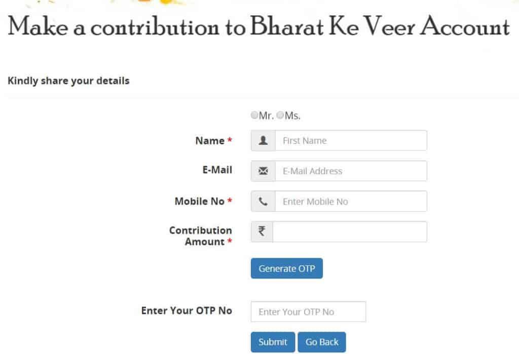 Bharat Ke Veer - Contribution Corpus Account