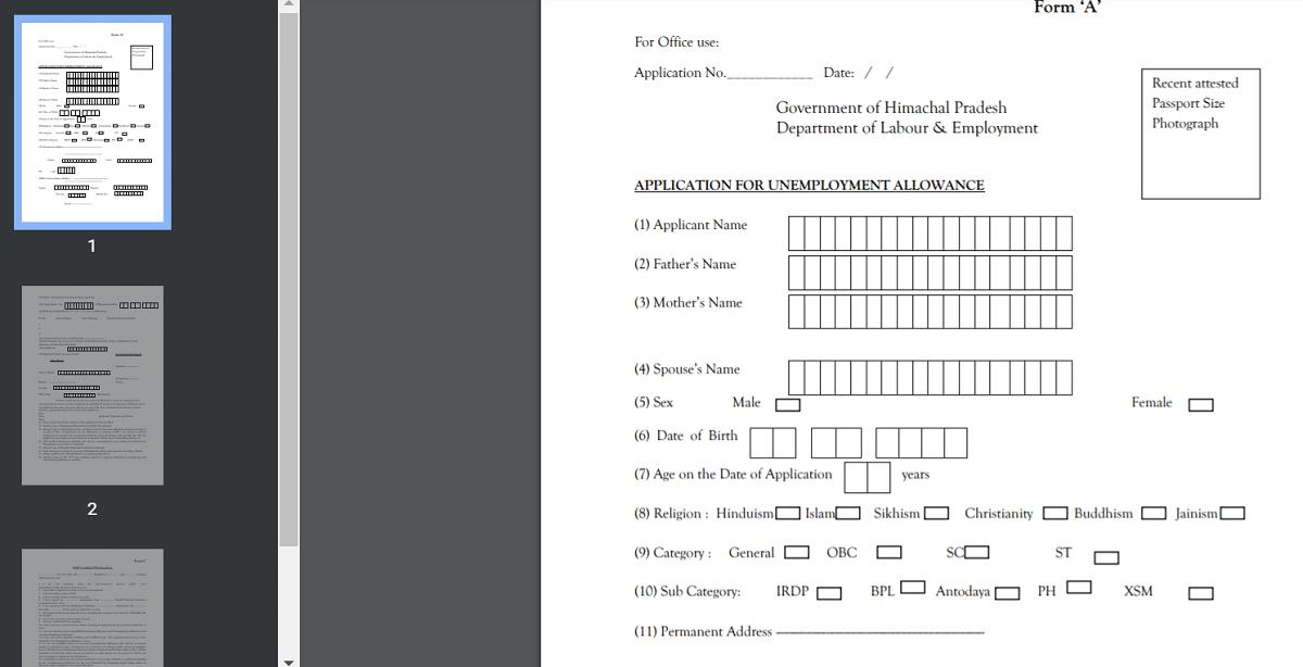 Download HP Unemployment Allowance Scheme Form PDF