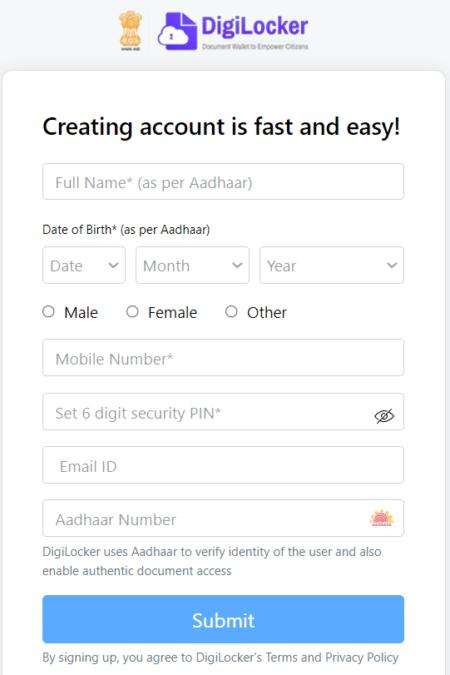 Digilocker Registration Form Account Signup