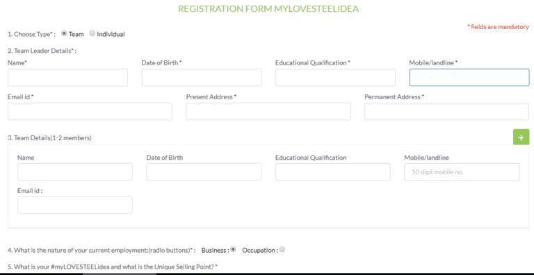 My Love Steel Idea Registration Form