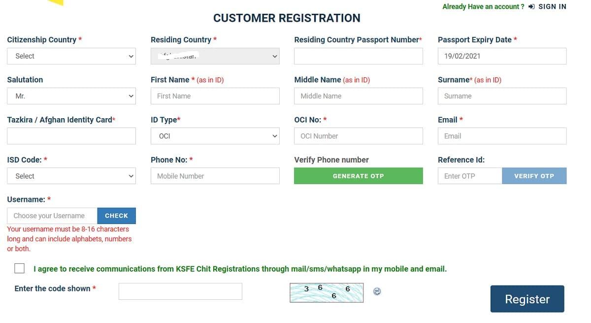 Kerala Pravasi Chitty KSFE Online Registration