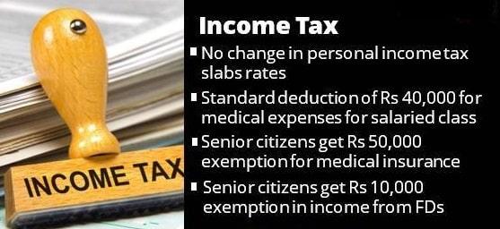 List Schemes Initiatives Union Budget 2018-19 Central Govt Tax Senior Citizens
