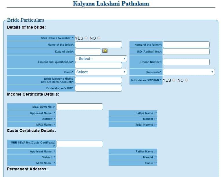 Telangana Shadi Mubarak Application Form
