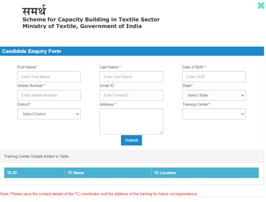 Samarth Scheme Online Registration Form