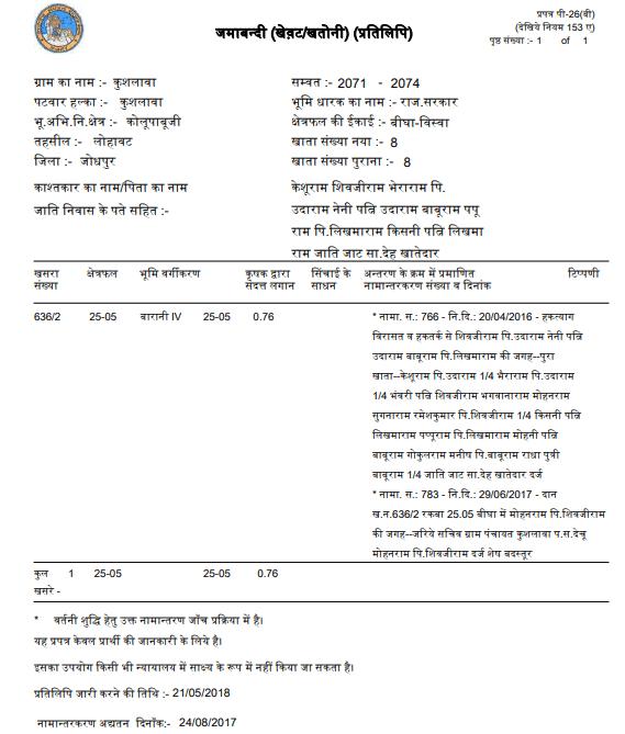 Apna Khata Nakal Jamabandi