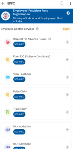 EPFO Employee Centric Services Umang App