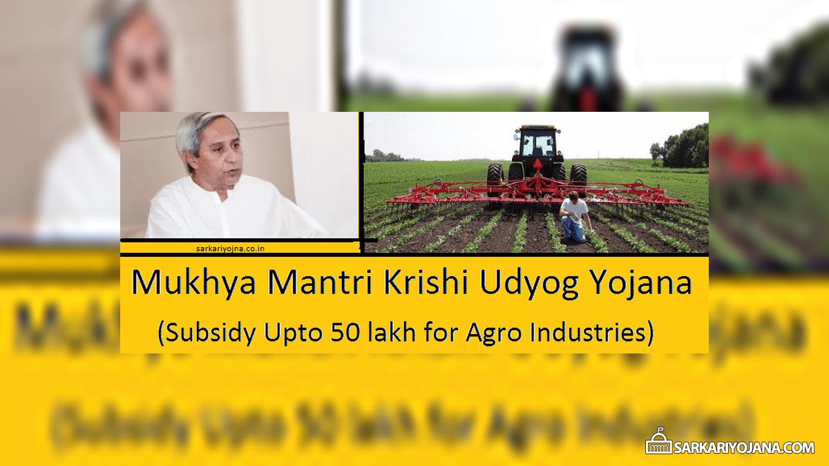 Odisha Mukhya Mantri Krishi Udyog Yojana
