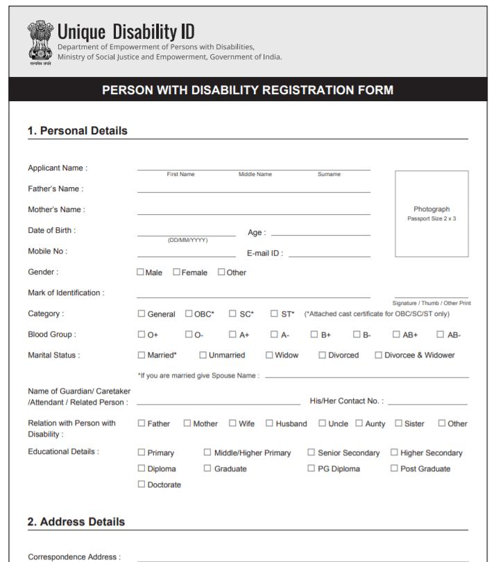 unique disability id udid card registration status