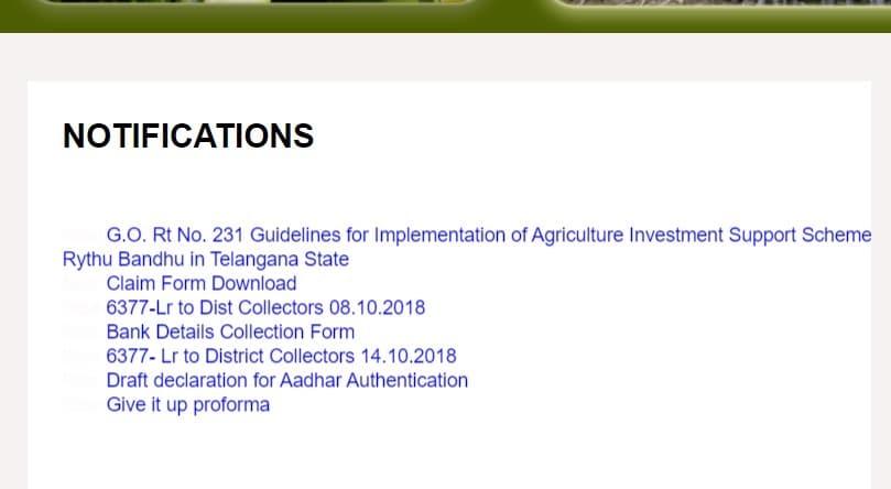 Telangana Rythu Bandhu Scheme Apply Form Notifications