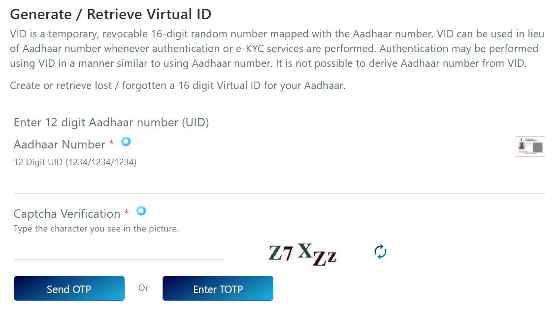 Uidai Generate Retrieve Virtual Id