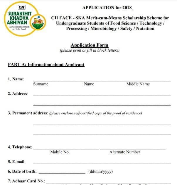 CII SKA Merit Cum Means Scholarship Scheme Application Form 2018