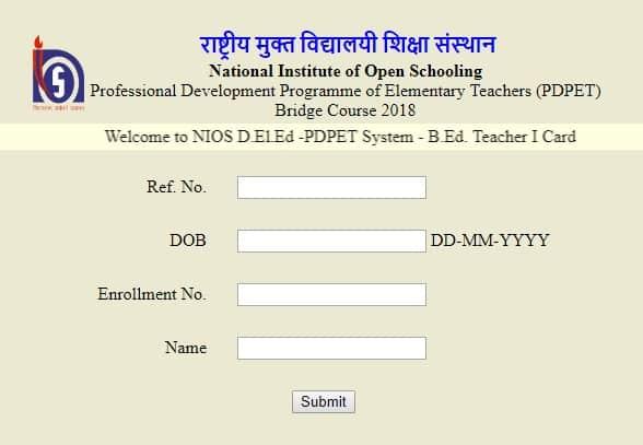 NIOS Dled Bridge Course B.Ed. Teachers I-Card