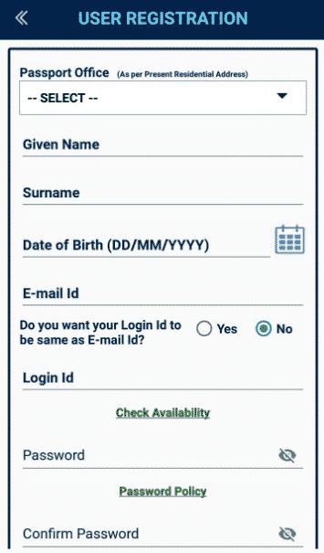 Passport User Registration Form
