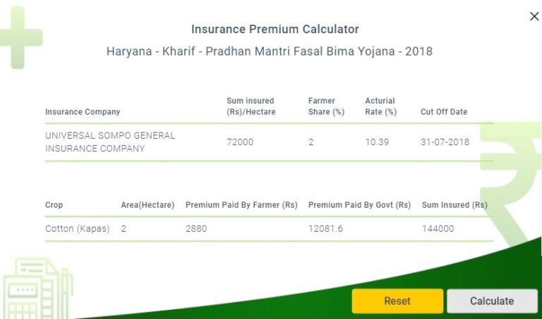 PMFBY Kharif 2018 Haryana Premium Amount