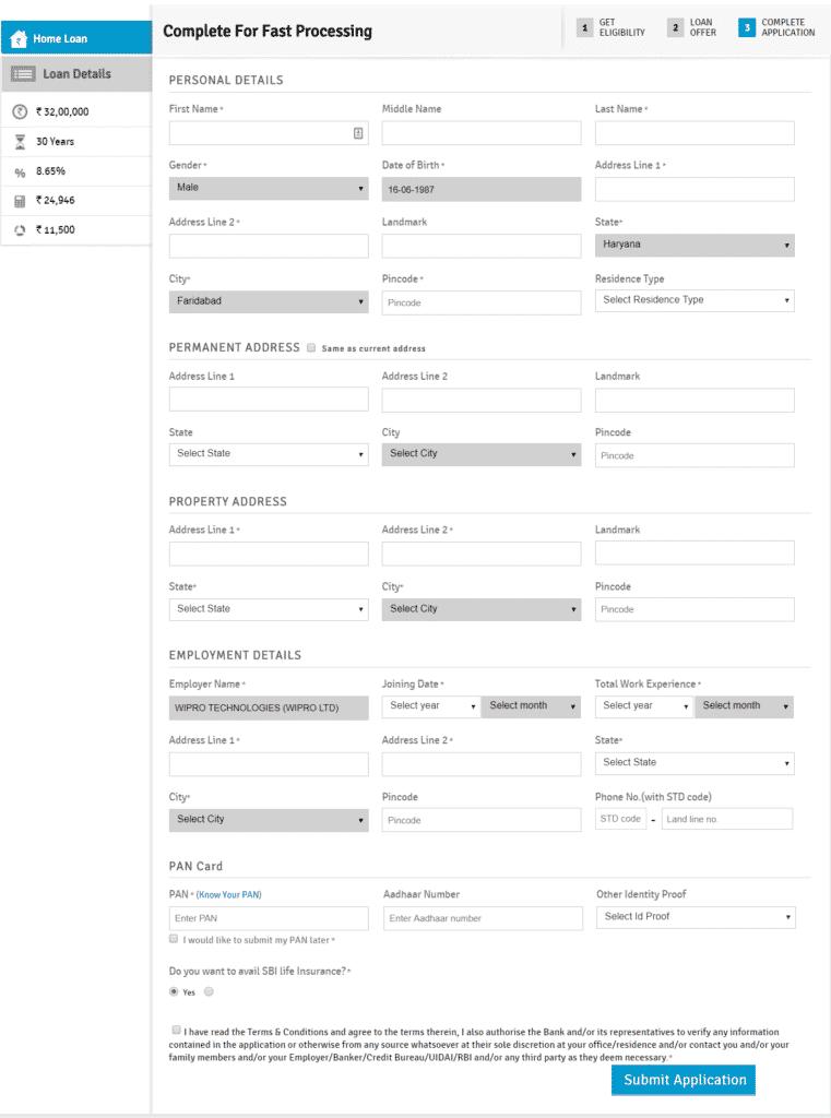 SBI PMAY Online Application Form