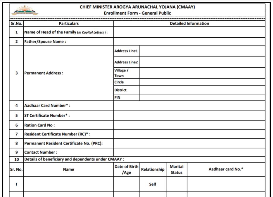 मुख्यमंत्री आरोग्य अरुणाचल योजना आवेदन पत्र पीडीएफ