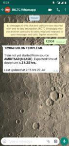 IRCTC Whatsapp Message Number