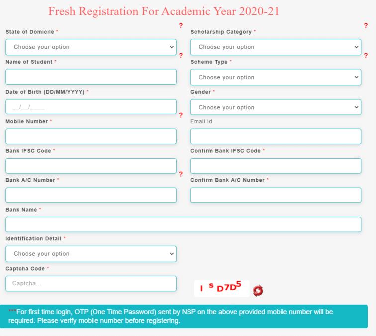 Post Matric Scholarship Scheme Online Registration Form Minorities