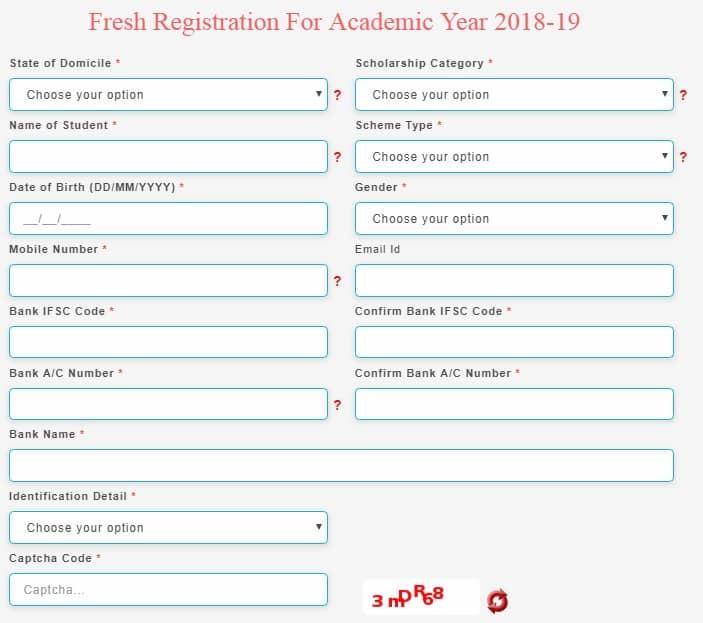 Pre Matric Scholarship Registration Form Disabled