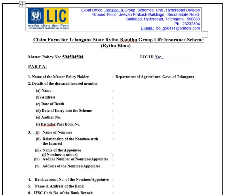 Rythu Bima Claim Form PDF Download