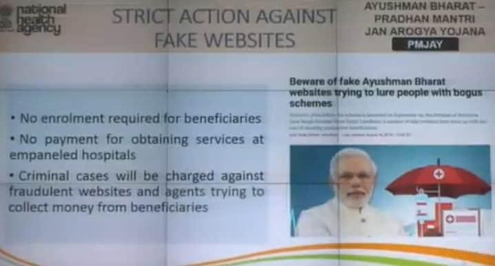 Strict Action Fake PMJAY Websites