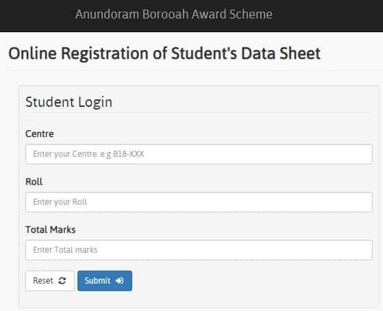 Anundoram Borooah Award Scheme Registration Students