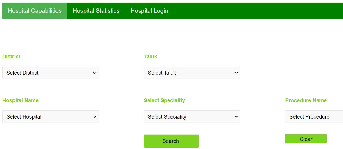 Arogya Karnataka Scheme Hospital Capabilities