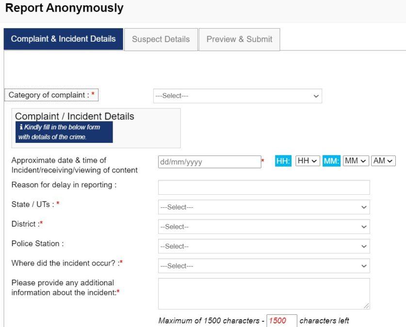 Complaint Registration National Cyber Crime Reporting Portal