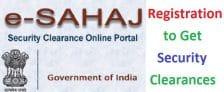 e-Sahaj Security Clearance Online Portal Registration Form at esahaj.gov.in