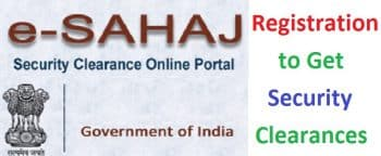 e-Sahaj Security Clearance Online Portal Registration