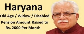 Haryana Old Age Widow Disabled Pension Raised