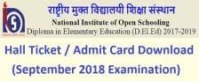 NIOS D.El.Ed 2nd Examination Admit Card 2018 Download