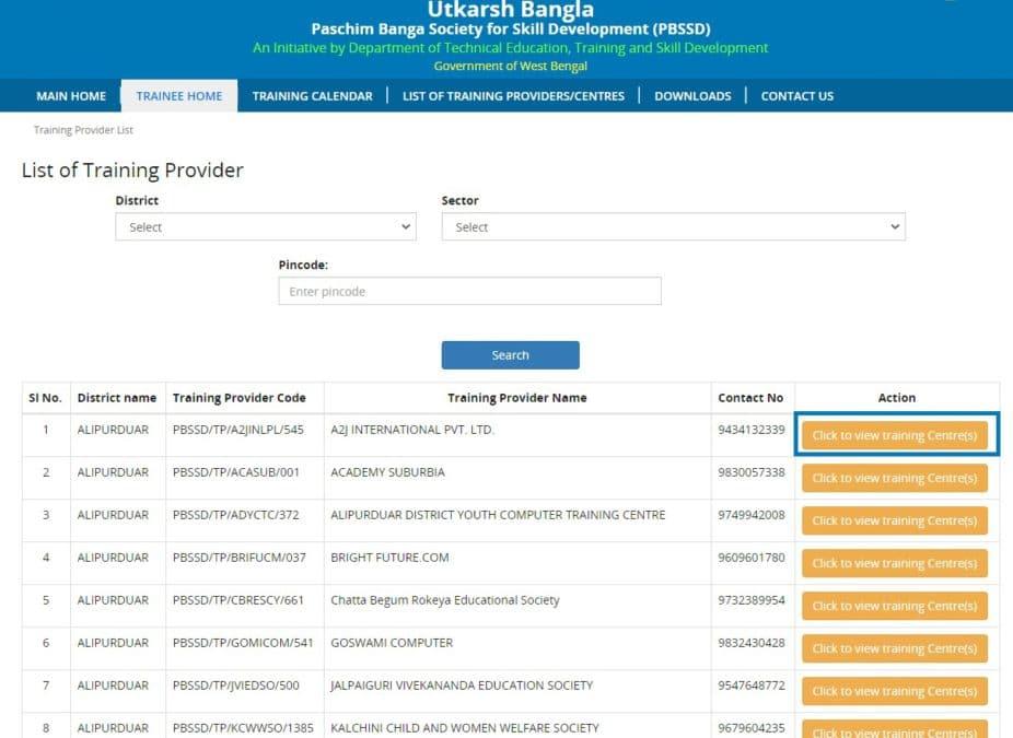 Utkarsh Bangla PBSSD Training Providers List