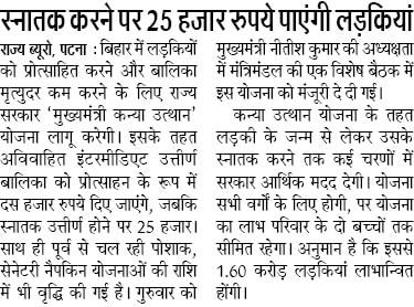 Bihar Kanya Utthan Yojana Graduate Girls