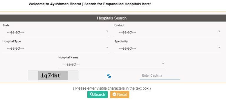 PM Jan Arogya Yojana Hospital List