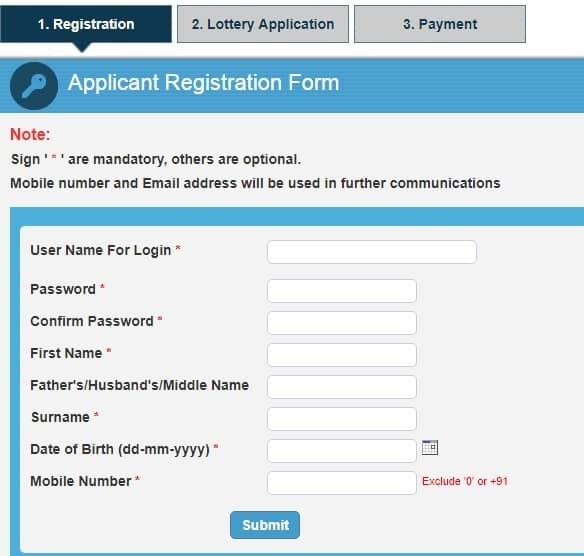 CIDCO Lottery 2019 Online Registration Form
