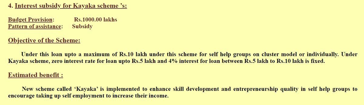 Karnataka Kayaka Scheme Interest Subsidy