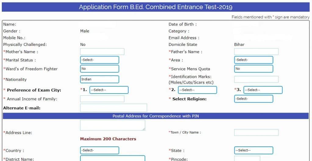 Bihar B.Ed Application Form 2019
