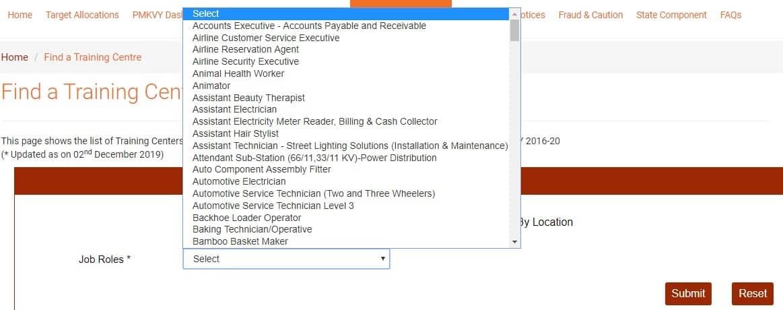 PMKVY Training Center List by Job Roles