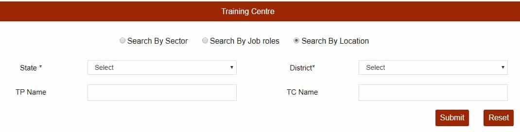 PMKVY Training Center List by Location