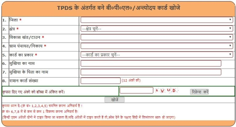 UP BPL Antyodaya Ration Card List