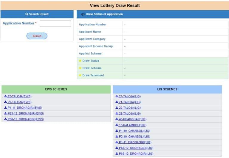 CIDCO Lottery Navi Mumbai Draw Result