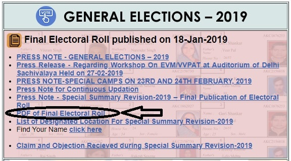 Delhi Electoral Roll PDF Download