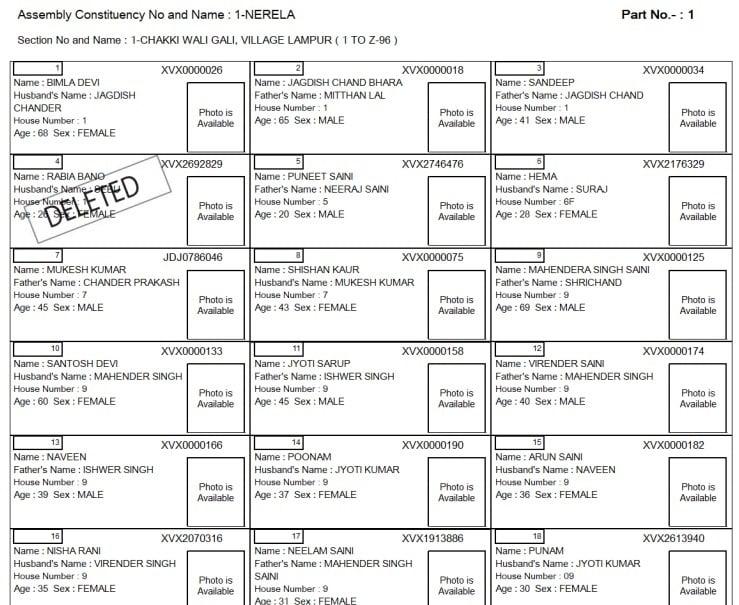 Delhi Voter List With Photo Download