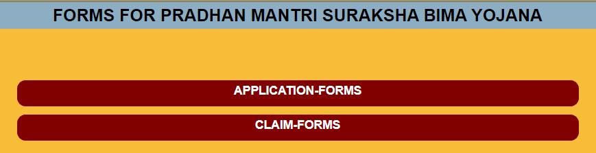 PM Suraksha Bima Yojana Forms Page