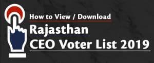 Rajasthan CEO Voter List 2019