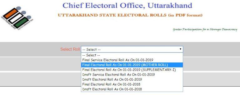 Voter List 2019 Uttarakhand State Wise