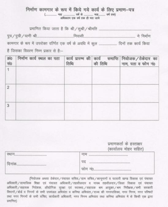 Haryana Vidhwa Pension Yojana Form Work Slip